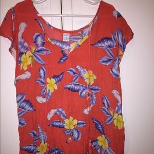 Old Navy NWT Ruffled Floral Tie-Neck Blouse
